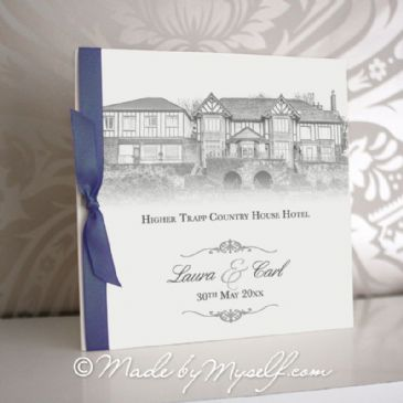 Higher Trapp Hotel Pocketfold Wedding Invitation - Includes RSVP & Guest Information